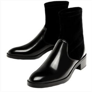 Zara contrasting velvet and patent ankle boots